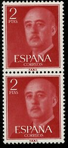 Bloque de 2 sellos de España 1955 Franco 2 pesetas Edifil 1157 rojo nuevos