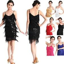 Latin Salsa Tango Dance Dress Ballroom Sleeveless Tassel Sequins Dress Dancewear