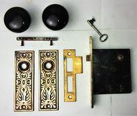 Antique Set EASTLAKE Backplates Black Porcelain Door Knobs Mortise Lock w/ Key