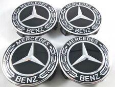 4 Logo Mercedes Cache Moyeu Jante Centre De Roue NOIR FULL BLACK 75mm Emblème