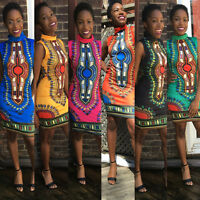 BOHO High Neck Sleeveless African Print Dashiki Bodycon Party Short Mini Dress