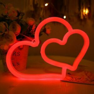 Neon Sign Heart Light Atmosphere LED Lamp Kid Room Party Wall Decor 8.8x6.3 Inch