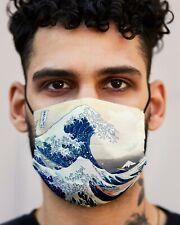 Double layered Cotton Face Mask with High Quality Print, Hokusai Kanagawa, Japan
