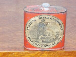 Vintage Kentucky Rifle Gunpowder Hazard Powder Co. Empty Tin