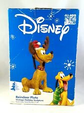 "New Disney REINDEER PLUTO Vintage Holiday Sculpture 9"" Handmade Santa Figurine"
