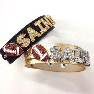 New Orleans Saints Rhinestone Bracelet / Black & Gold Football Inspired Bracelet