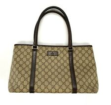 Gucci Handbag Large Purse GG Monogram Web PVC & Leather Dark Brown Double Handle
