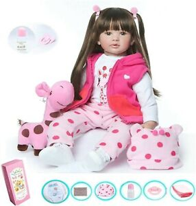 "24"" Reborn Dolls Baby Vinyl Soft Silicone Long Hair Girl Doll Newborn Xmas Gift"