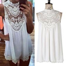 Women Lace Long Tops Shirts Plus Size Short Party Beach clubwear Dresses 8-26