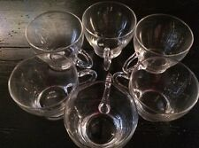 Vintage Plain Clear Glass Punch /Tea Cup drinking glasses 6 Pieces*