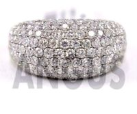 2.99 ct Round Anniversary Band Engagement Ring Real 14k Solid White gold