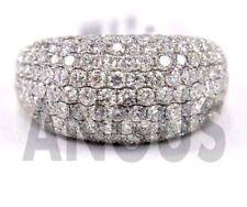 Real 14K White gold 2.99 ct Diamond Round Anniversary Band Engagement Ring