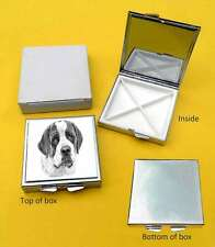 Saint Bernard Dog Polished Metal Square Pill Box with 4 Compartments Gift