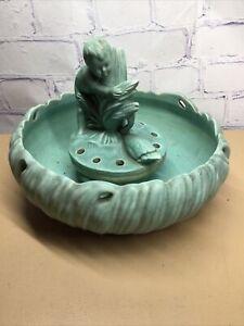 1900s-20s Weller Pottery HOBART LINE Figural Flower Frog w/Bowl GREEN COLOR