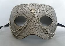 Grey Leatherette Venetian Masquerade Party Mask With Silver Chain - *NEW*