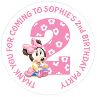 24 LARGE Personalised Minnie Mouse 2nd BIRTHDAY PARTY BAG Stickers 63mm Labels
