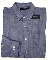 Orig $79 Nautica Blue Long Sleeve Shirt Mens Size L XL 100% Linen Heather NEW
