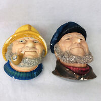 Vintage F. Wright Legend Products England Chalkware Bust Old Salt Bosun 1980s