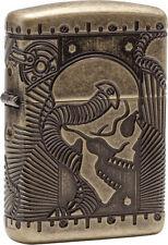 Zippo essence briquet Antik laiton Armor Case Skull 60002848 nouveau