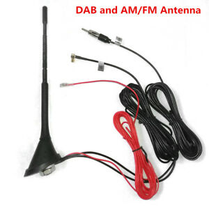 12V Car Radio DAB & AM/FM Antenna Aerial Roof Mount Antenna Signal Amplifier SMB