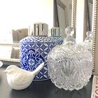 Vintage Style Glass Trinket Jar/Candy Jar/Jewellery Box/Decorative Bowl