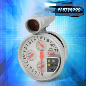"""For Acura 5"""" White 4IN1 11K RPM Tachometer Oil Pressure & Water/Oil Temp Gauges"""