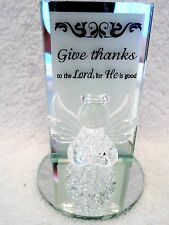 Mini Angel Figurine On Mirrored Stand Give Thanks To The Lord For He Is Good