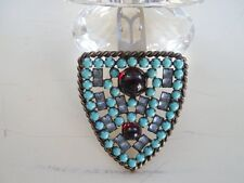 Beautiful VINTAGE 1940s BROOCH FUR CLIP With 66 TURQUOISE - RED & CLEAR STONES