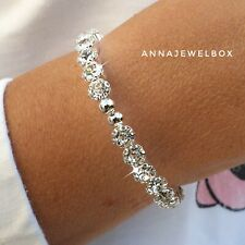 Silver Cubic Zirconia Diamant Crystal Tennis Bracelet Flexi Bangle Bridal Gift