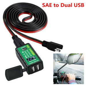 Motorcycle Handlebar 2USB Charger Power Socket Adapter ON/Off Switch Waterproof