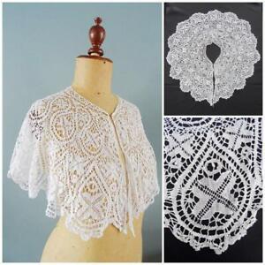 Antique Lace Collar Victorian Bertha Bedfordshire Bobbin Floral Capelet Bridal F
