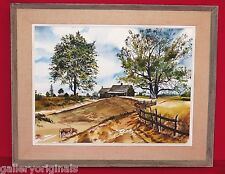 LARGE WATERCOLOR PAINTING AMERICAN FARM LANDSCAPE COW OLD CAR SIGNED JOHN ROGERS