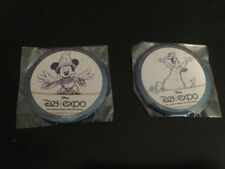2 Walt Disney First D23 EXPO PIN BUTTON SORCERER MICKEY MOUSE and FIGMENT