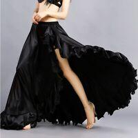 Satin Side Slit Skirt Belly Dance Costumes Festival Fancy Satin Long Skirt Jupe