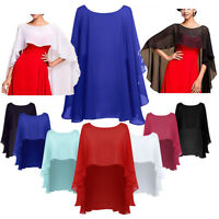 Ladies Women High Low Chiffon Bolero Shrug Summer Crop Cardigan Tops Cape Shawls