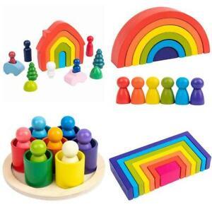 Wooden Rainbow Building Stacking Blocks Kids Toddler Educational Montessori Toy