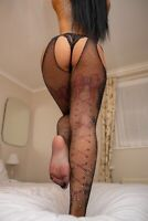 Womens Sexy Sequins Rhinestone Crotchless Tights Sheer Fishnet Stockings