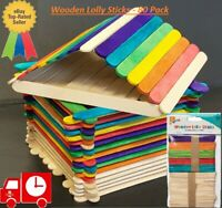 Pack of 80 Wooden Lolly Sticks Natural Kids Arts craft model making, ice lollies
