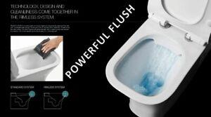 EVOLVE Square Rimless Close Coupled Toilet - Ultra Slim Soft Close Seat - P Trap