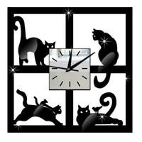 3D Crystal Mirror Wall Clock Black Cat Decorative Wall Clock Home Decor