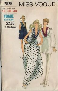 1970's Dress with Low, Squared Neckline Miss Vogue 7828 Bust 38