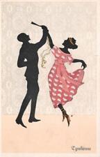SILHOUTTE DANCING TYROLIENNE FOLK DANCE MARTE GRAF ART DECO POSTCARD (c. 1910)