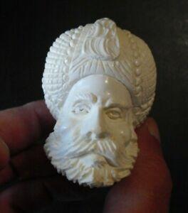 """Vintage Unused Meerschaum Carved Pipe Bearded Man Sultan Head 6 1/2"""" Long"""