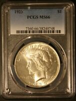 1923 PCGS MS66 PEACE DOLLAR!! NICE LUSTER!! Sharp Coin.