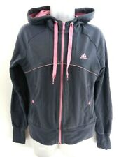 ADIDAS Womens Hoodie Jacket 12 Grey Pink Cotton & Polyester
