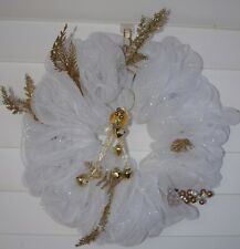 Hand Crafted White Gold Door Wreath with Lights