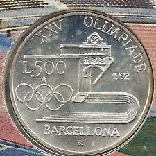 Italia 500 Liras 1992 Olimpiada de Barcelona @@ Estadio olimpico @@