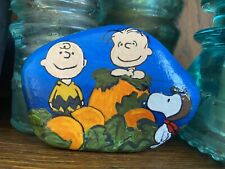 Hand Painted Rock PEANUTS, Linus, Snoopy, Great Pumpkin Charlie Brown