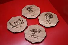 Game Of Thrones Oak Drinks Coasters House Sigil Set Of 4 Laser Engraved
