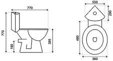 Design Eck-Wc Toilette Stand-Wc komplett set & Spülkasten KERAMIK Eckspülkasten